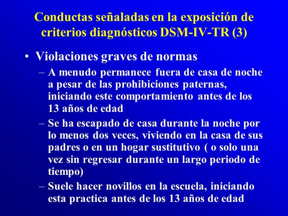 Conductas señaladas en la exposición de criterios diagnósticos DSM-IV-TR (2) Destrucción de la propiedad –Ha provocado deliberadamente incendios con l