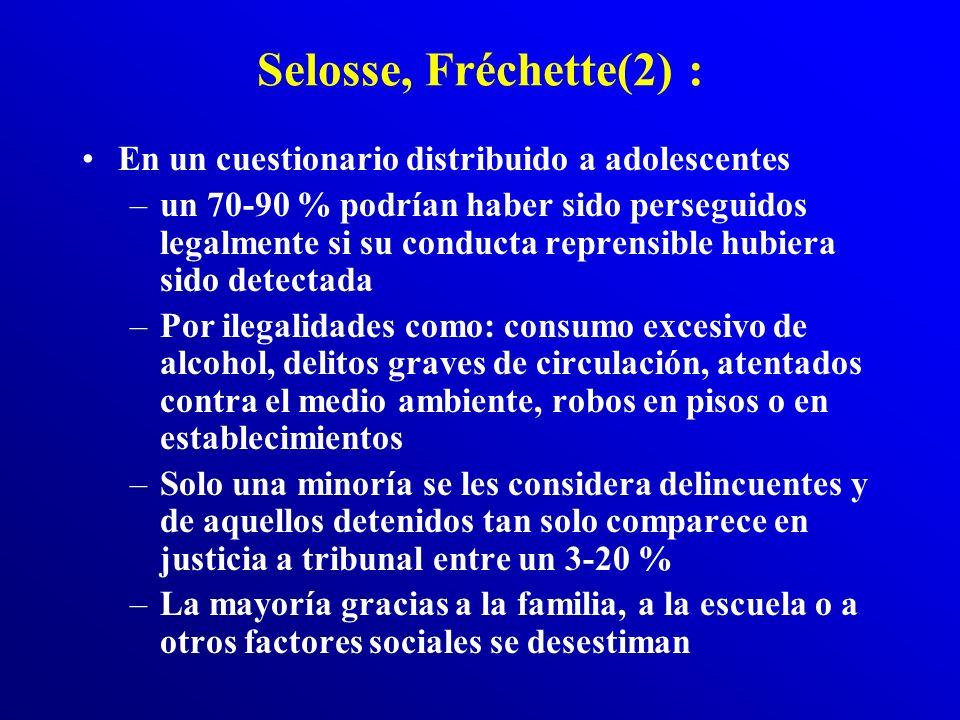 Selosse, Fréchette : La mayoría de los adolescentes –tienen un enfrentamiento con la ley por lo menos en una ocasión (delincuencia escondida) –Solamen