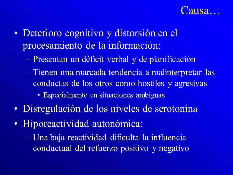 C ausa… Genética: –Faltan estudios genéticos acerca de este trastorno –Los pocos que existen indican que hay una influencia genética Características t