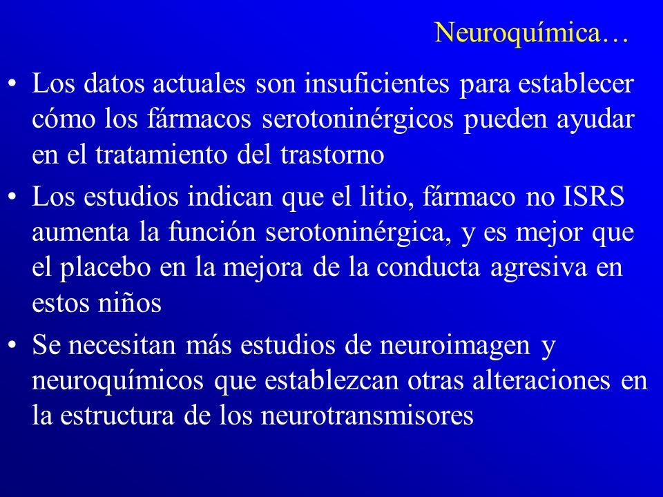 ¿Existe una alteración neuroquímica específica en el trastorno? Los datos apoyan una alteración serotoninérgica en la modulación de las funciones cere