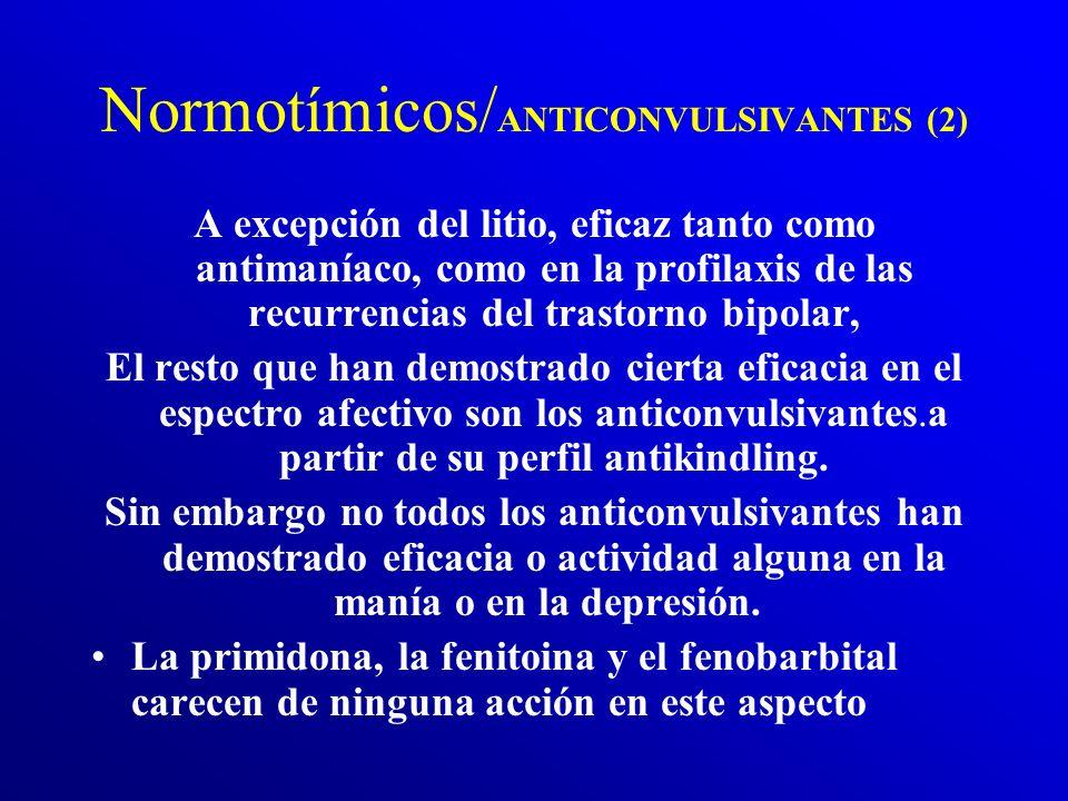 Normotímicos/ ANTICONVULSIVANTES (1) Carbonato de Litio, Clonazepan, Gabapentina, Lamotrigina, Oxcarbazepina, Topiramato, Valproato