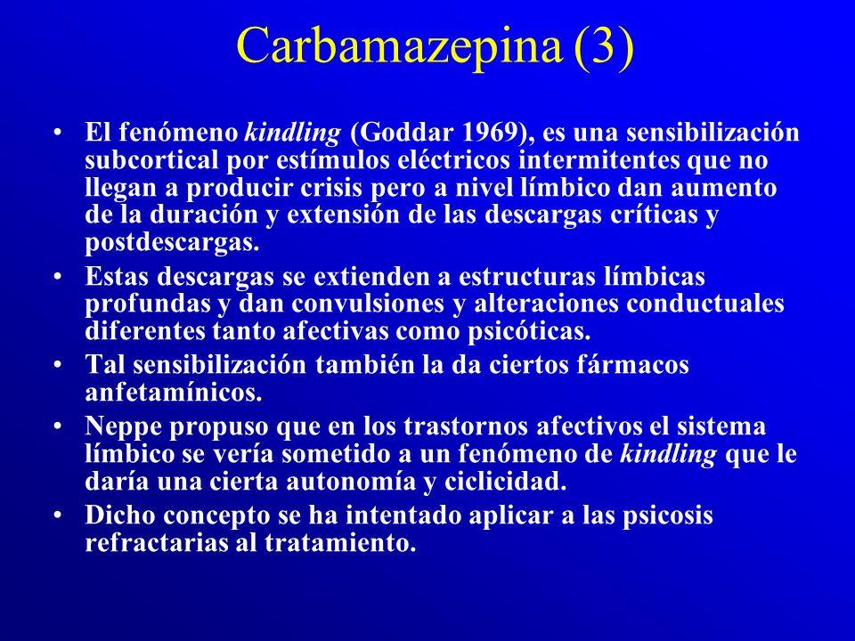 Carbamazepina (2) Es un derivado del imino-estilbeno con un grupo carbamilo en posición 5, (fracción indispensable para su acción química. Tiene un ci