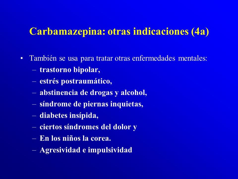 Carbamazepina (4) Aplicaciones clínicas de la carbamazepina.- Se usa en los Trastornos afectivos: –Desde hace treinta años se aplica la carbamazepina