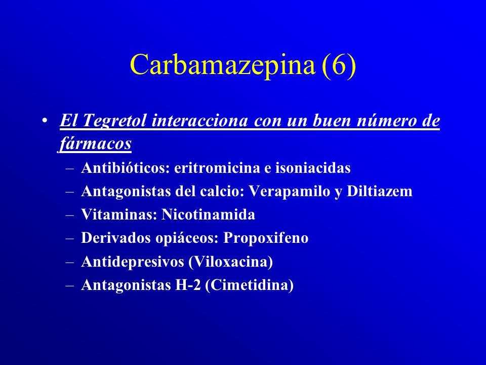 Carbamazepina (5) Las complicaciones del tratamiento con Tegretol son muy numerosas: Hay el riesgo de agranulocitosis (es depresor del sistema hematop