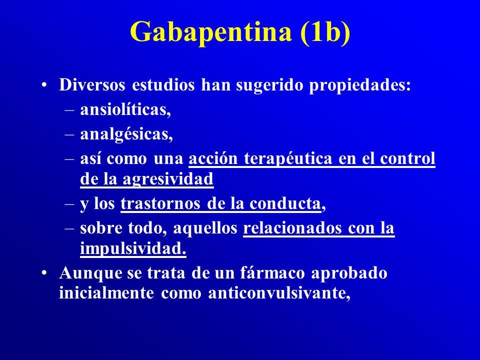 Gabapentina (1a) Neurontin: mecanismo de acción es poco conocido. Es un aminoácido con una estructura molecular similar a la L-leucina, derivado del G