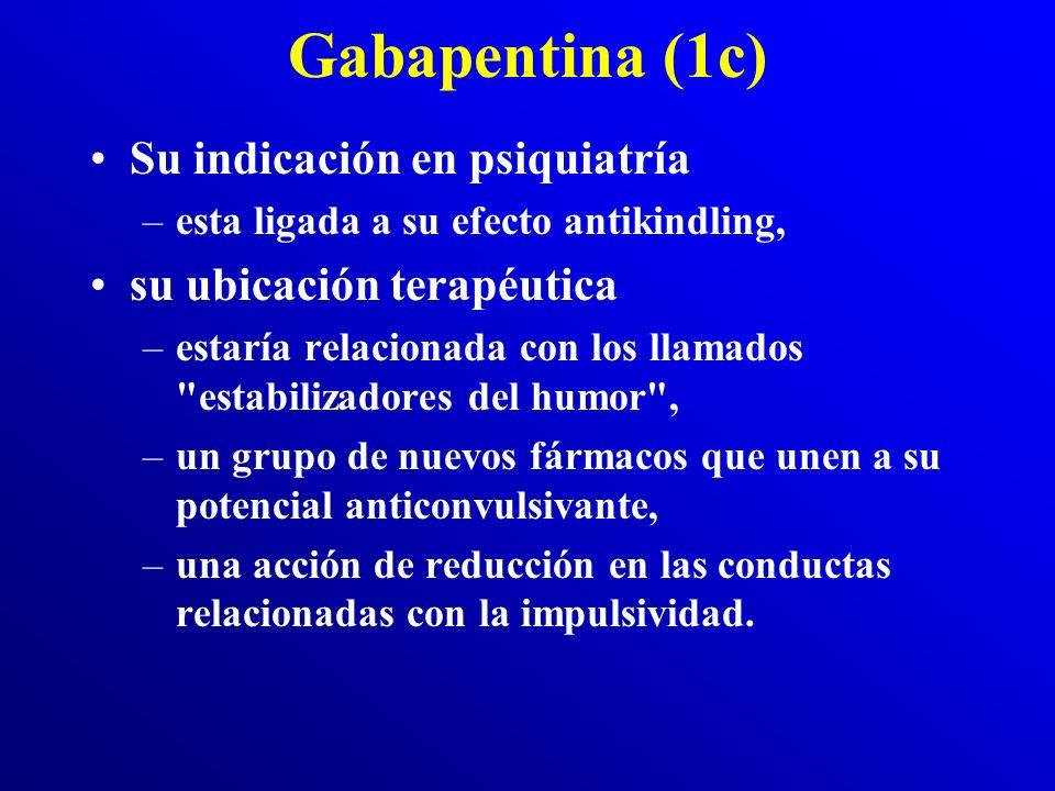 Gabapentina (1b) Diversos estudios han sugerido propiedades: –ansiolíticas, –analgésicas, –así como una acción terapéutica en el control de la agresiv