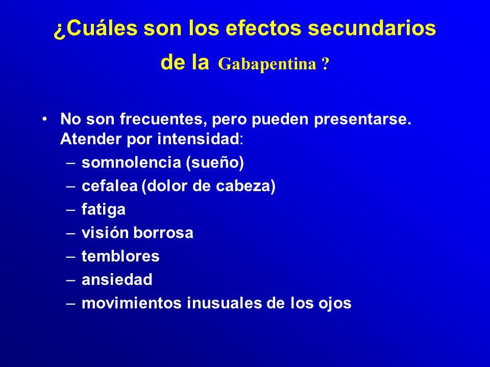 Gabapentina (3): ¿Que precauciones deben seguirse? Vigilar: –sensibilidad o alergia a la Gabapentina o a otros medicamentos. –la coincidencia con anti