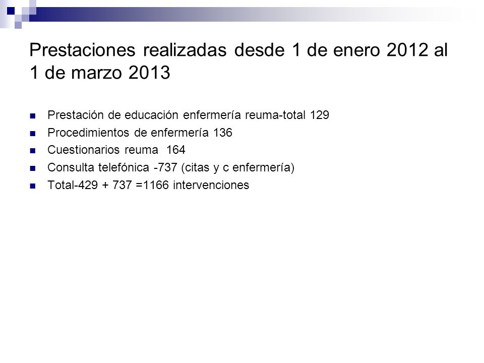 Prestaciones realizadas desde 1 de enero 2012 al 1 de marzo 2013 Prestación de educación enfermería reuma-total 129 Procedimientos de enfermería 136 Cuestionarios reuma 164 Consulta telefónica -737 (citas y c enfermería) Total-429 + 737 =1166 intervenciones