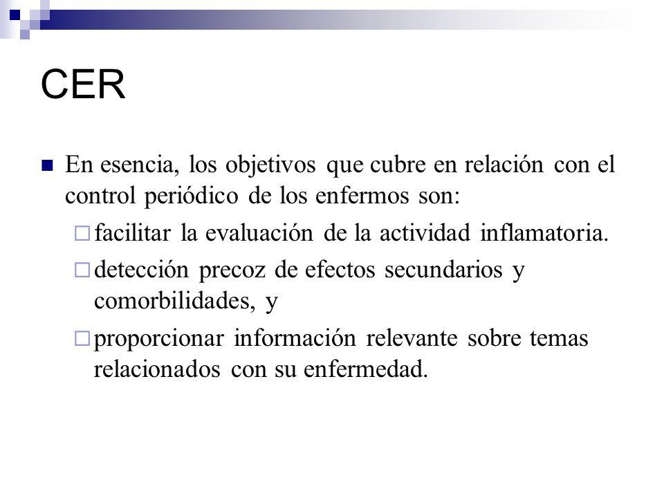 CER En esencia, los objetivos que cubre en relación con el control periódico de los enfermos son: facilitar la evaluación de la actividad inflamatoria