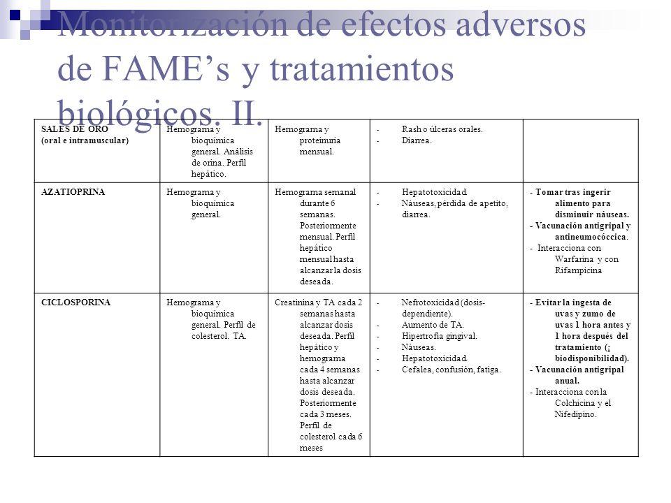 Monitorización de efectos adversos de FAMEs y tratamientos biológicos. II. SALES DE ORO (oral e intramuscular) Hemograma y bioquímica general. Análisi