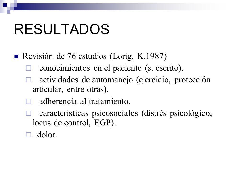 RESULTADOS Revisión de 76 estudios (Lorig, K.1987) conocimientos en el paciente (s. escrito). actividades de automanejo (ejercicio, protección articul