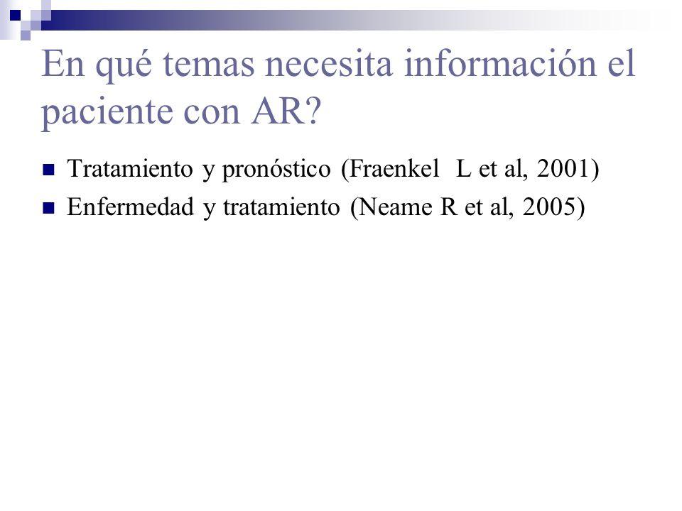 En qué temas necesita información el paciente con AR? Tratamiento y pronóstico (Fraenkel L et al, 2001) Enfermedad y tratamiento (Neame R et al, 2005)