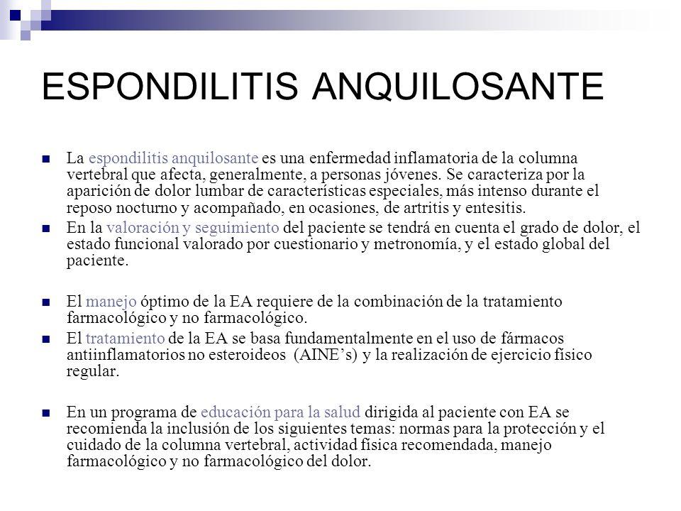 La espondilitis anquilosante es una enfermedad inflamatoria de la columna vertebral que afecta, generalmente, a personas jóvenes. Se caracteriza por l