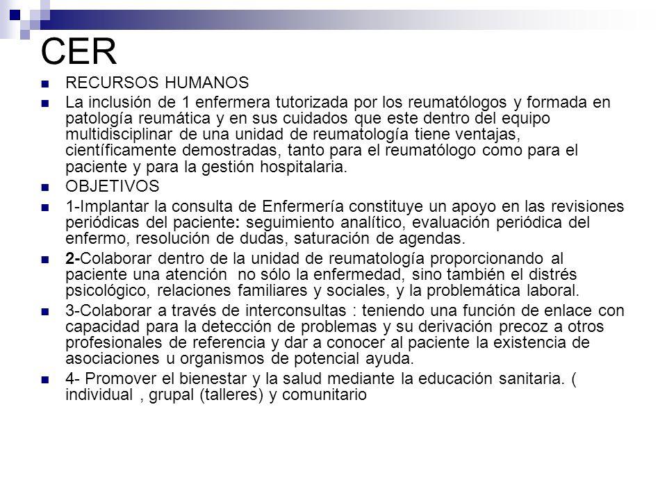 CER RECURSOS HUMANOS La inclusión de 1 enfermera tutorizada por los reumatólogos y formada en patología reumática y en sus cuidados que este dentro de
