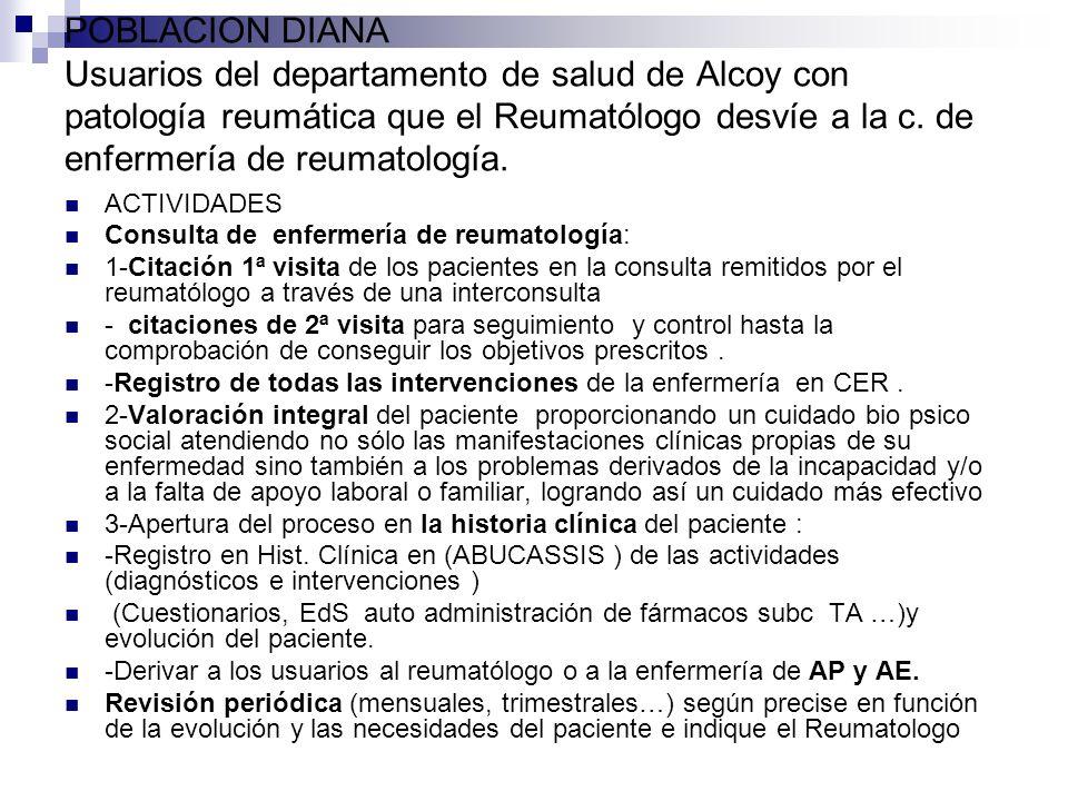 POBLACION DIANA Usuarios del departamento de salud de Alcoy con patología reumática que el Reumatólogo desvíe a la c. de enfermería de reumatología. A
