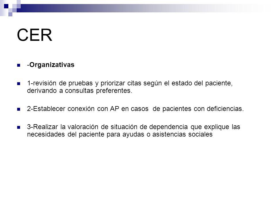 CER -Organizativas 1-revisión de pruebas y priorizar citas según el estado del paciente, derivando a consultas preferentes. 2-Establecer conexión con