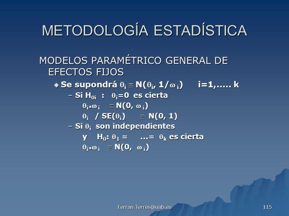 Ferran.Torres@uab.es 115 METODOLOGÍA ESTADÍSTICA MODELOS PARAMÉTRICO GENERAL DE EFECTOS FIJOS Se supondrá i N( i, 1/ i )i=1,..... k Se supondrá i N( i