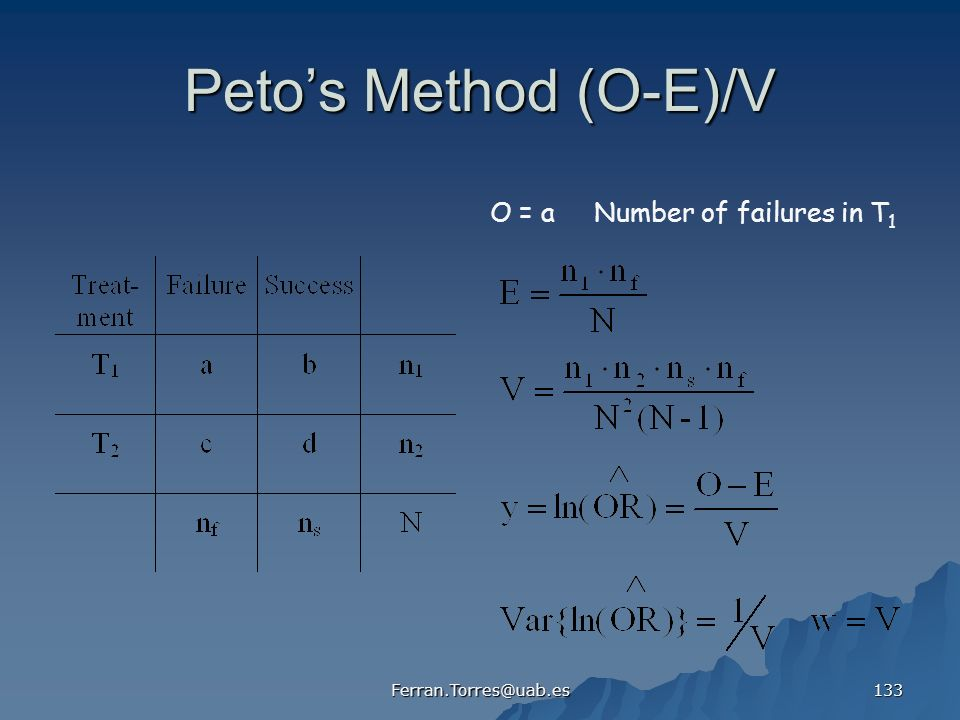 Ferran.Torres@uab.es 133 Petos Method (O-E)/V O = a Number of failures in T 1