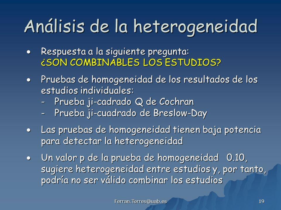 Ferran.Torres@uab.es 19 Análisis de la heterogeneidad Respuesta a la siguiente pregunta: Respuesta a la siguiente pregunta: ¿SON COMBINABLES LOS ESTUD