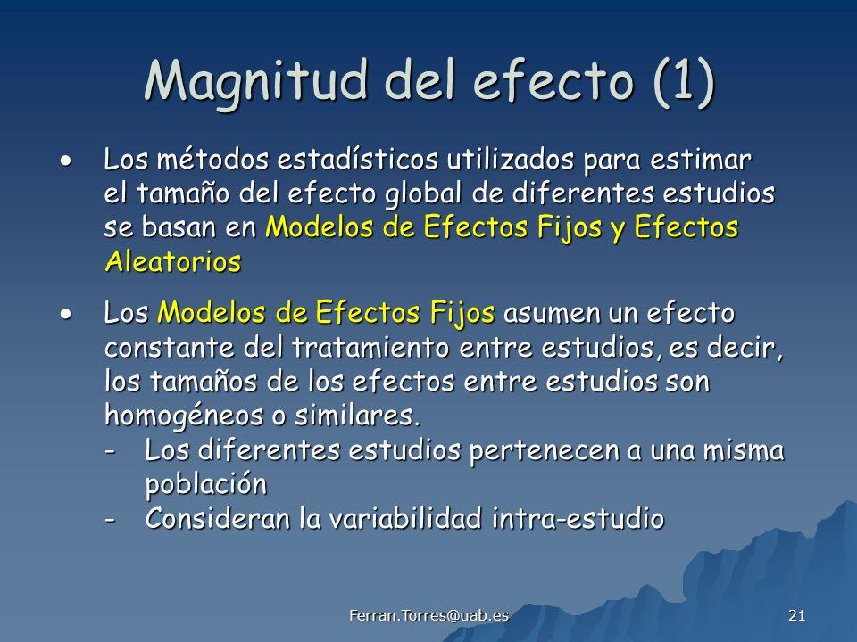 Ferran.Torres@uab.es 21 Magnitud del efecto (1) Los métodos estadísticos utilizados para estimar Los métodos estadísticos utilizados para estimar el t