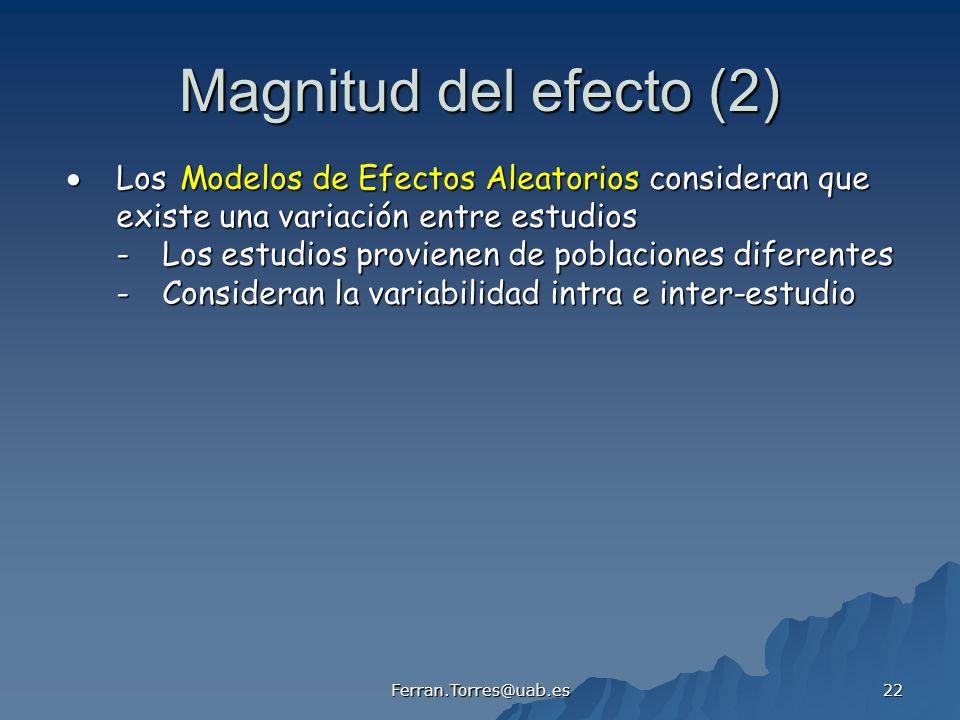Ferran.Torres@uab.es 22 Magnitud del efecto (2) Los Modelos de Efectos Aleatorios consideran que Los Modelos de Efectos Aleatorios consideran que exis