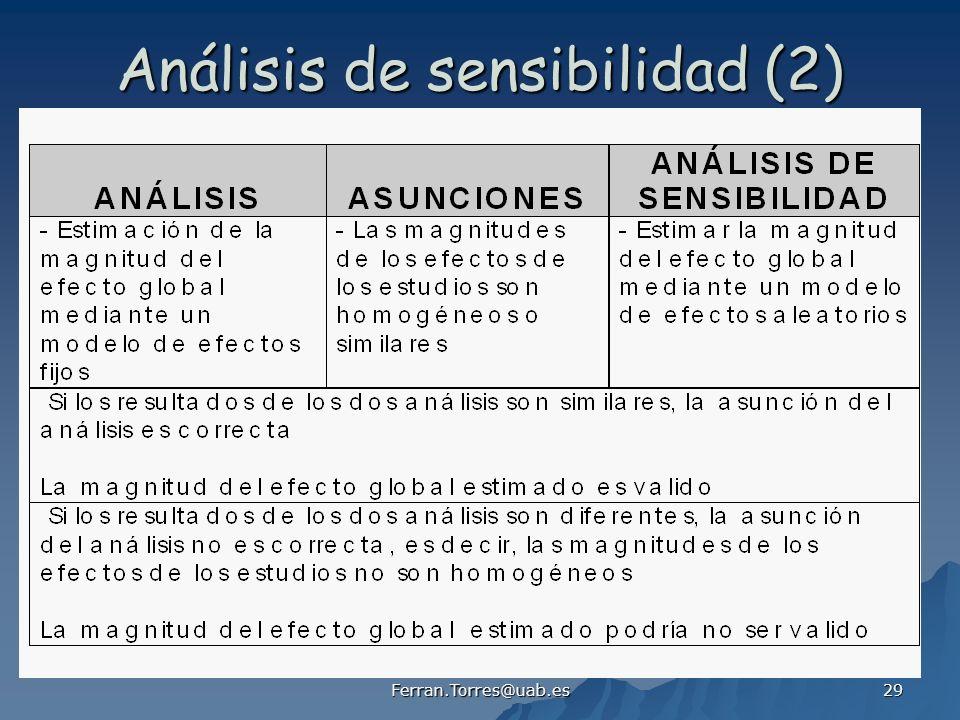 Ferran.Torres@uab.es 29 Análisis de sensibilidad (2)