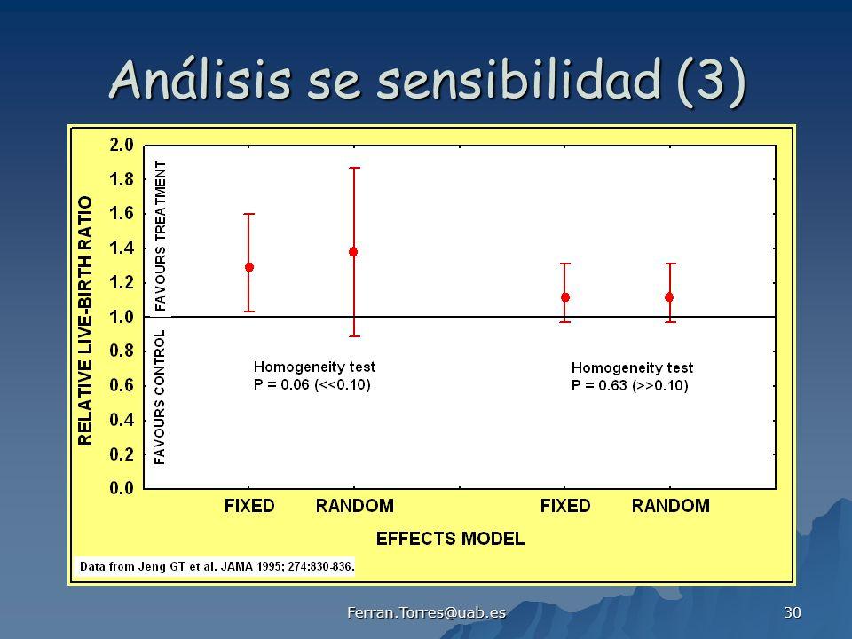 Ferran.Torres@uab.es 30 Análisis se sensibilidad (3)