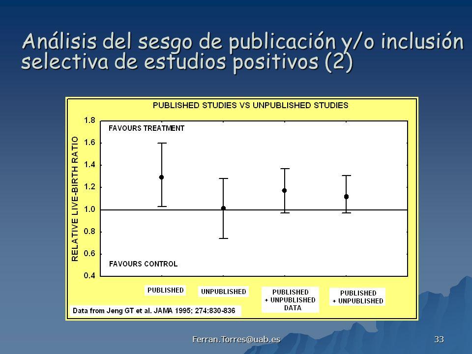 Ferran.Torres@uab.es 33 Análisis del sesgo de publicación y/o inclusión selectiva de estudios positivos (2)