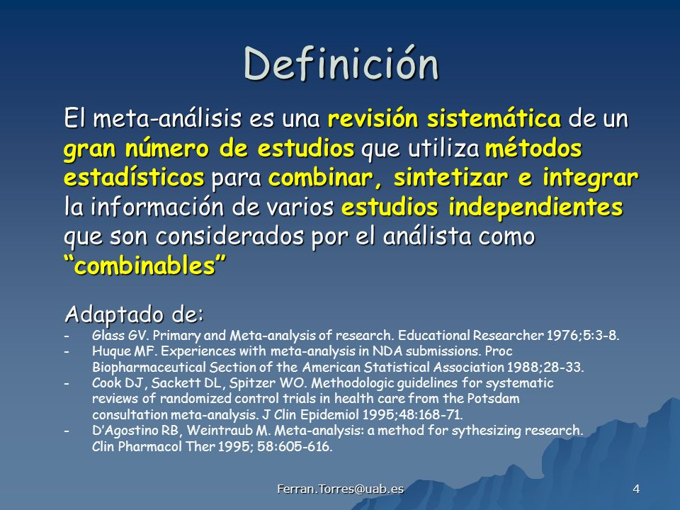 Ferran.Torres@uab.es 125 Pooled estimate of ln(OR) = OR = 0.90 (0.84 0.96) Meta-analysis of Aspirin trials