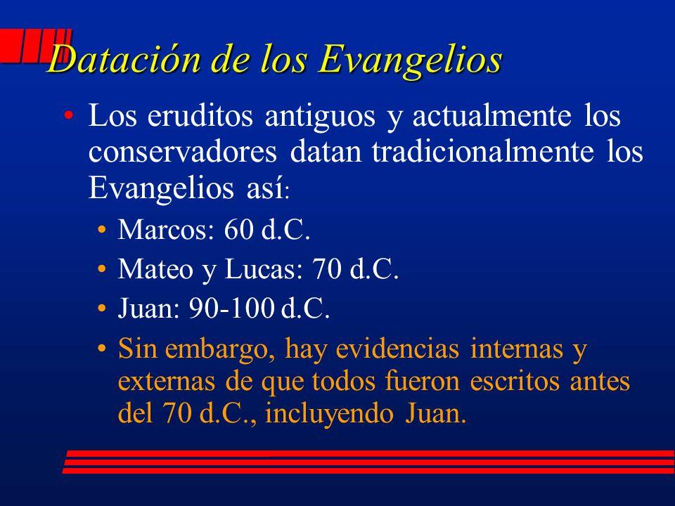 Los eruditos antiguos y actualmente los conservadores datan tradicionalmente los Evangelios así : Marcos: 60 d.C.
