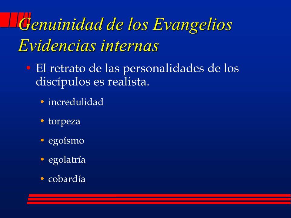 Genuinidad de los Evangelios Evidencias internas El retrato de las personalidades de los discípulos es realista.