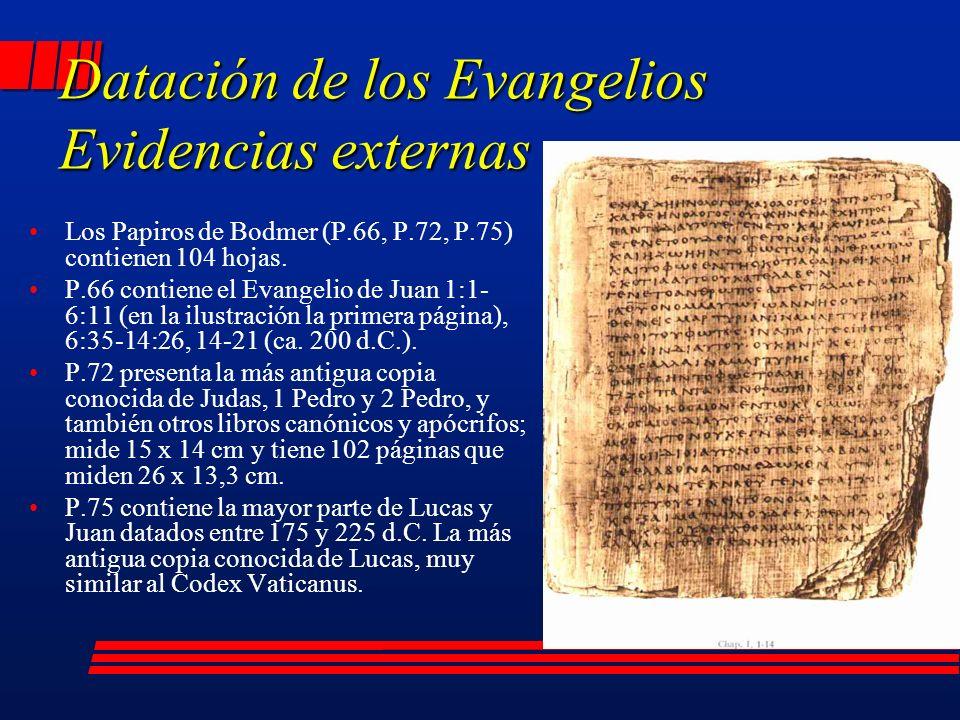 Los Papiros de Bodmer (P.66, P.72, P.75) contienen 104 hojas.