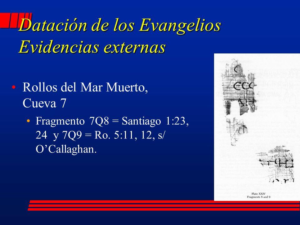 Rollos del Mar Muerto, Cueva 7 Fragmento 7Q8 = Santiago 1:23, 24 y 7Q9 = Ro.