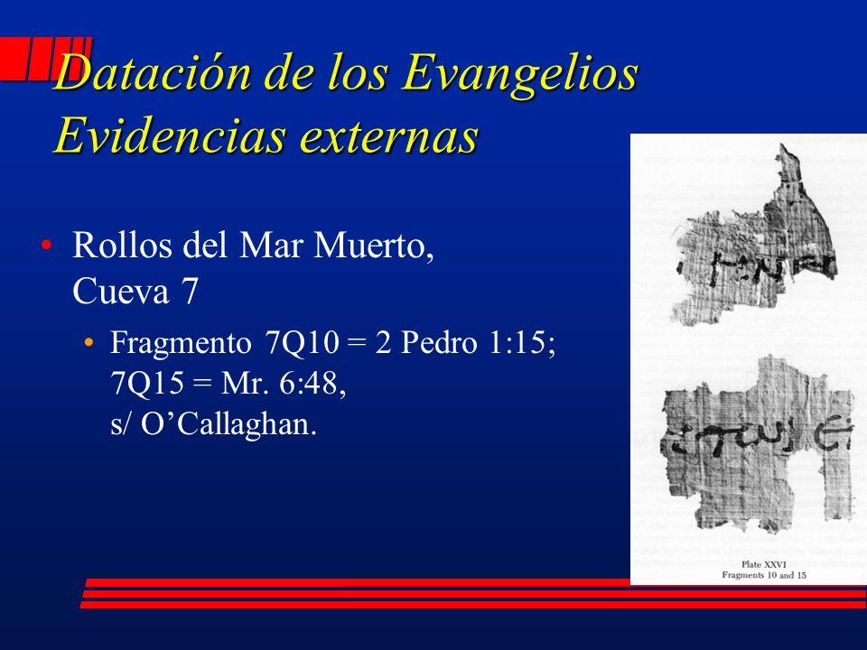 Rollos del Mar Muerto, Cueva 7 Fragmento 7Q10 = 2 Pedro 1:15; 7Q15 = Mr.
