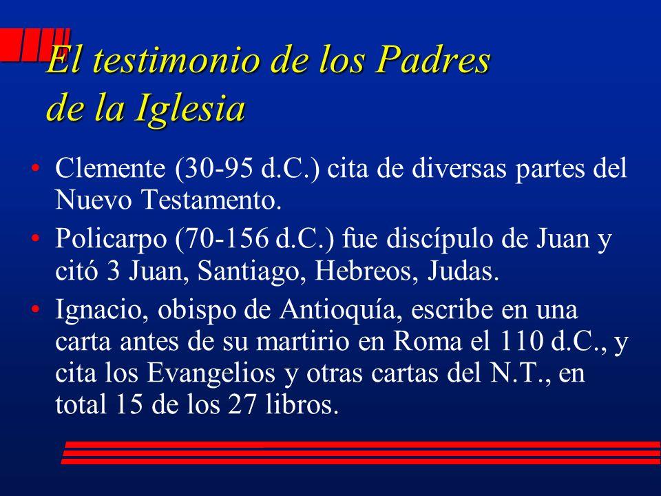 Clemente (30-95 d.C.) cita de diversas partes del Nuevo Testamento.
