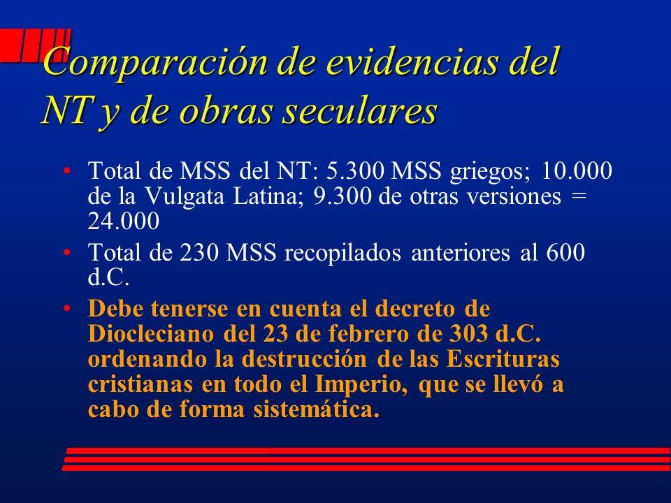 Total de MSS del NT: 5.300 MSS griegos; 10.000 de la Vulgata Latina; 9.300 de otras versiones = 24.000 Total de 230 MSS recopilados anteriores al 600 d.C.