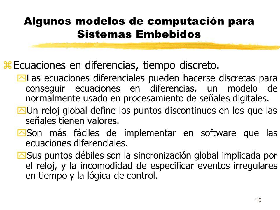 11 Algunos modelos de computación para Sistemas Embebidos zMaquinas de estados.