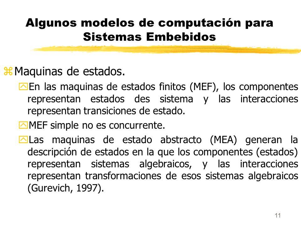 12 Algunos modelos de computación para Sistemas Embebidos zMaquinas de estados.
