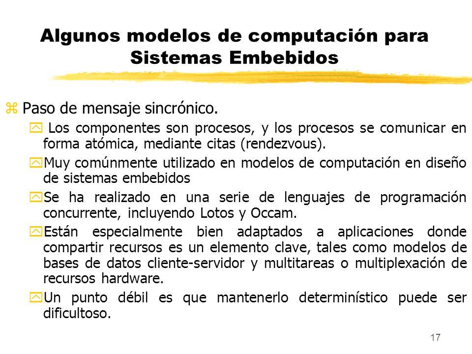 18 Algunos modelos de computación para Sistemas Embebidos zPaso de mensaje asincrónico.