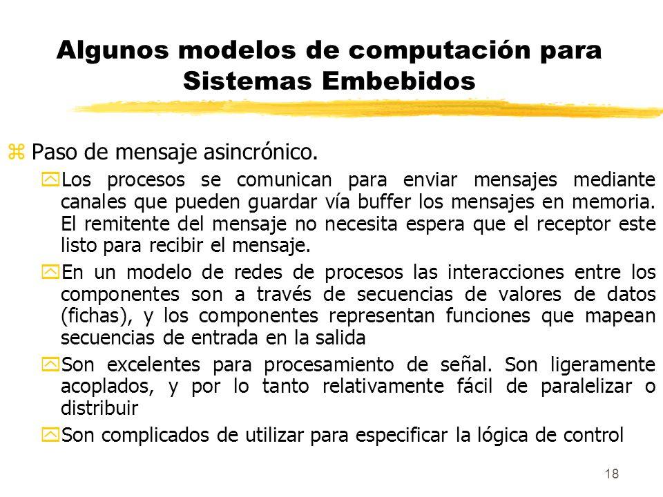 19 Algunos modelos de computación para Sistemas Embebidos zProcesos de comunicación secuencial y de redes temporizados.