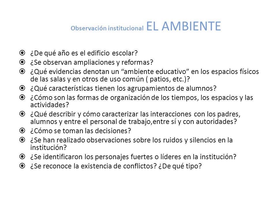 Observación institucional EL AMBIENTE ¿De qué año es el edificio escolar? ¿Se observan ampliaciones y reformas? ¿Qué evidencias denotan un ambiente ed