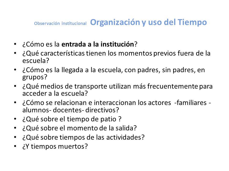Observación institucional Organización y uso del Tiempo ¿Cómo es la entrada a la institución? ¿Qué características tienen los momentos previos fuera d
