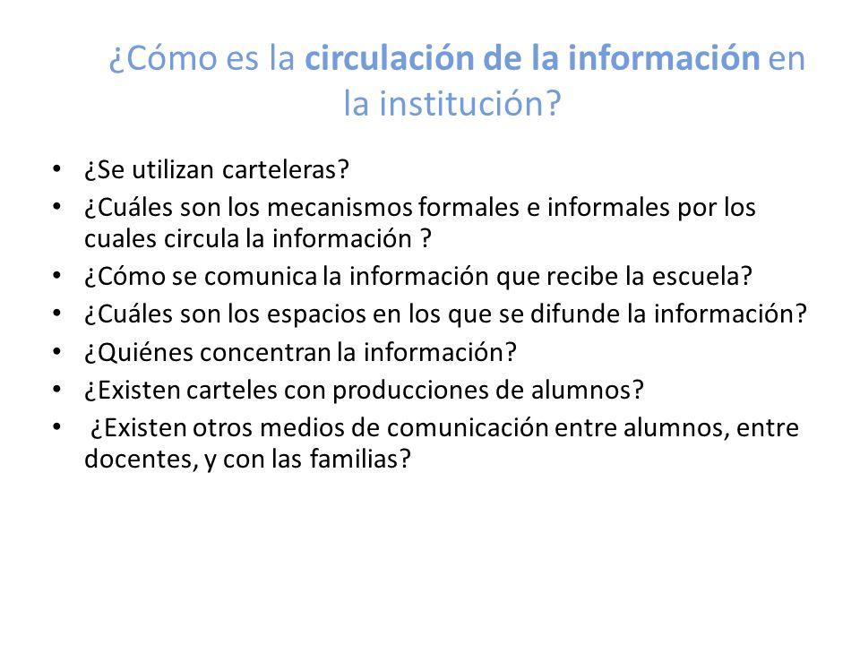 ¿Cómo es la circulación de la información en la institución? ¿Se utilizan carteleras? ¿Cuáles son los mecanismos formales e informales por los cuales