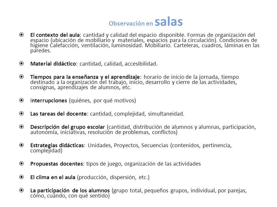 Observación en salas El contexto del aula: cantidad y calidad del espacio disponible. Formas de organización del espacio (ubicación de mobiliario y ma