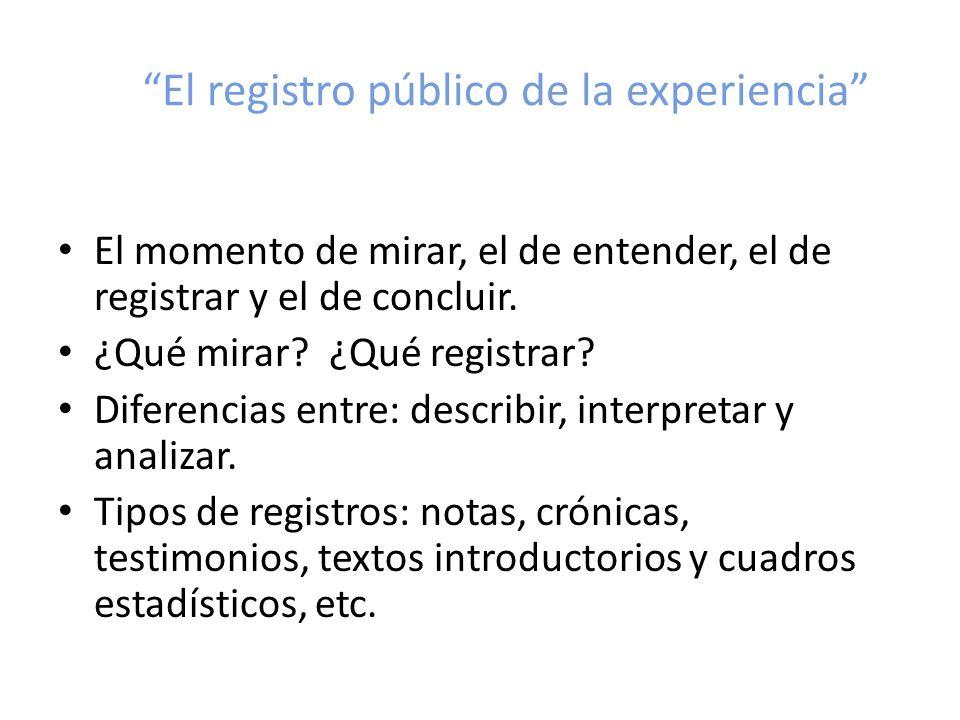 El registro público de la experiencia El momento de mirar, el de entender, el de registrar y el de concluir. ¿Qué mirar? ¿Qué registrar? Diferencias e