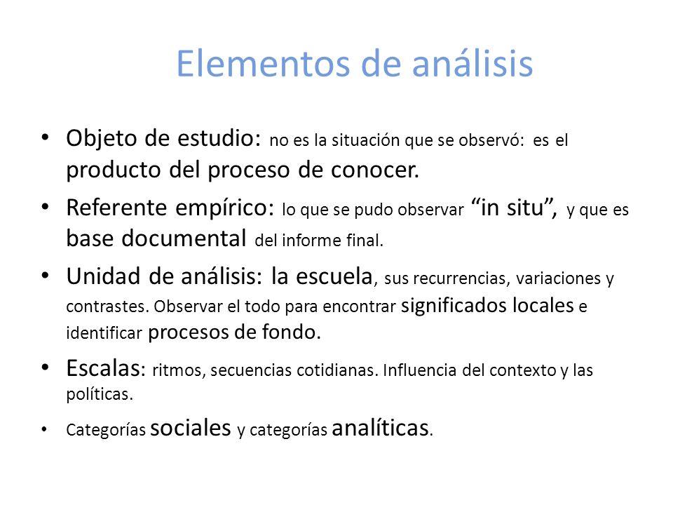 Elementos de análisis Objeto de estudio: no es la situación que se observó: es el producto del proceso de conocer. Referente empírico: lo que se pudo