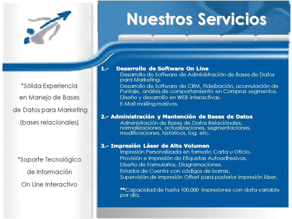 1.- Desarrollo de Software On Line Desarrollo de Software de Administración de Bases de Datos para Marketing. Desarrollo de Software de CRM, Fidelizac