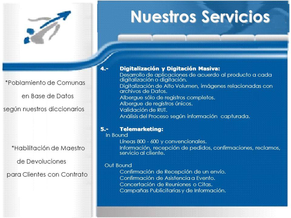 4.-Digitalización y Digitación Masiva: Desarrollo de aplicaciones de acuerdo al producto a cada digitalización o digitación. Digitalización de Alto Vo