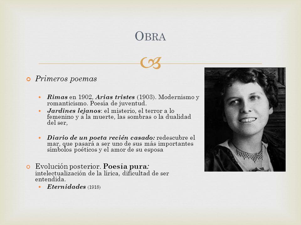 Primeros poemas Rimas en 1902, Arias tristes (1903). Modernismo y romanticismo. Poesía de juventud. Jardines lejanos : el misterio, el terror a lo fem