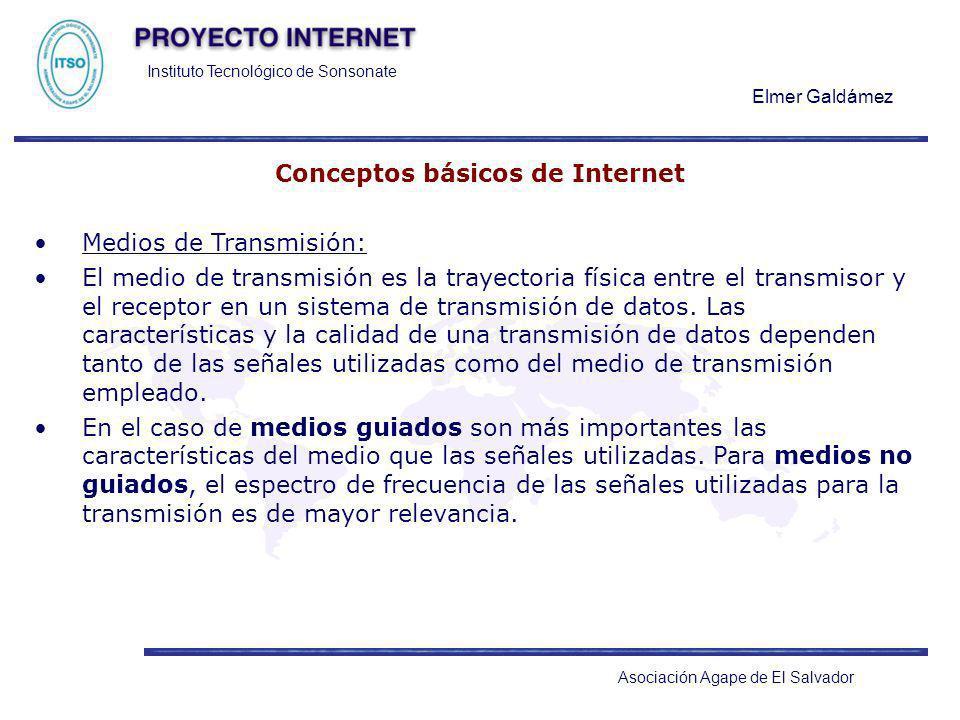 Instituto Tecnológico de Sonsonate Elmer Galdámez Asociación Agape de El Salvador Conceptos básicos de Internet Medios de Transmisión: El medio de tra